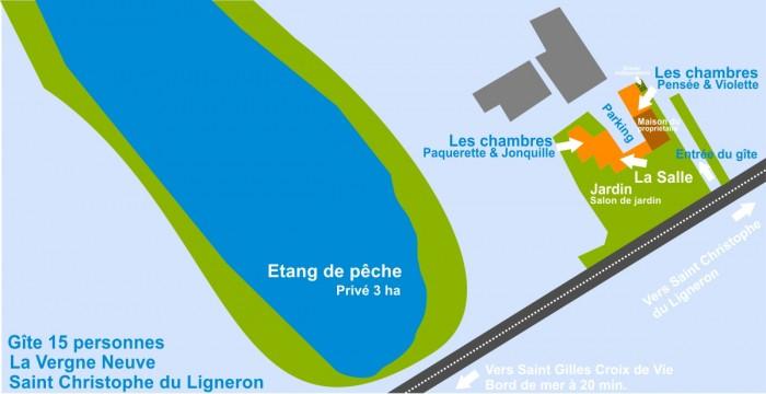 Plan du gite 15 personnes en Vendée